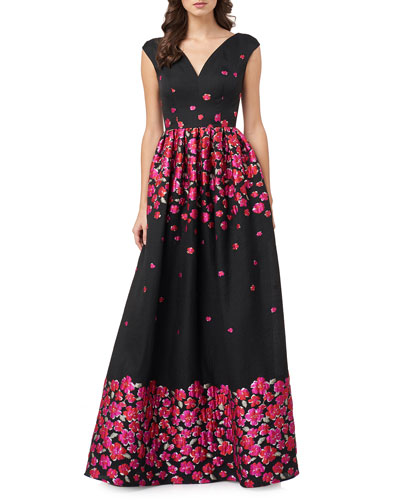 V-Neck Floral Brocade Sleeveless Banded A-Line Gown