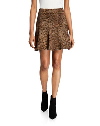 Jamey Snake-Print Mini Skirt
