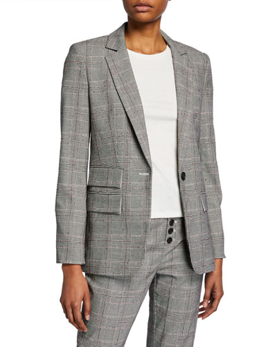 Aalyah Single-Button Check Jacket