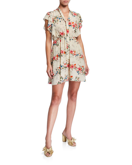 REDValentino Floral-Print Short Tie-Neck Flutter-Sleeve Dress