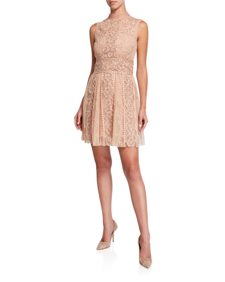 REDValentino Mock-Neck Sleeveless Macrame Lace Mini Dress