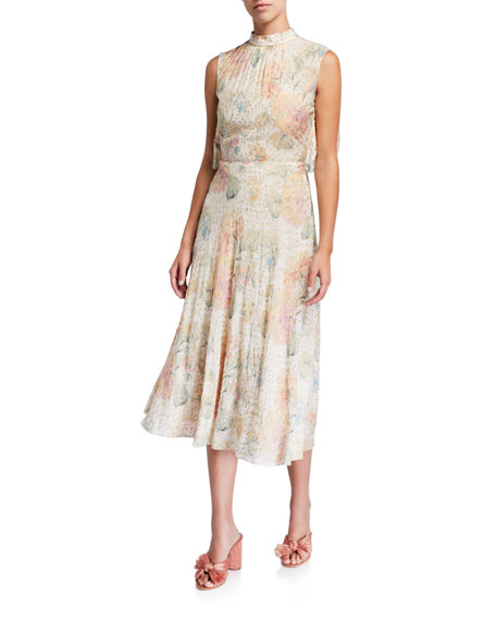 REDValentino Printed Sleeveless Cape-Back Tie-Neck Midi Dress