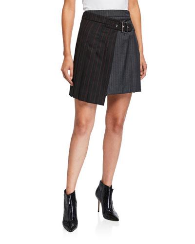 Deconstructed Two-Tone Kilt Skirt
