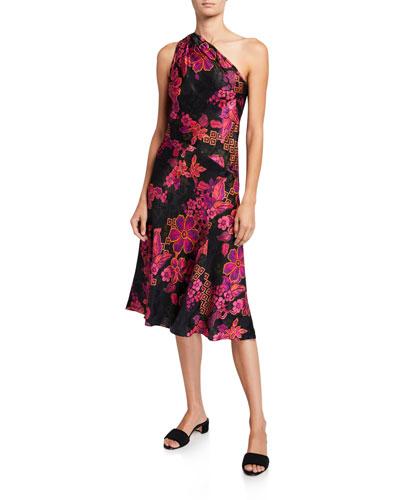 Delphine Floral One-Shoulder Dress