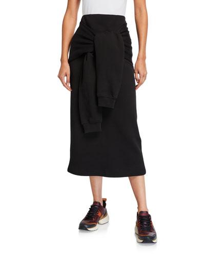 Knotted Sleeve Midi Skirt