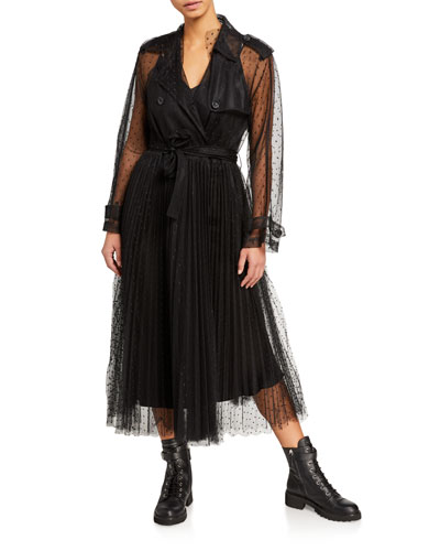 Lace Pleated Bottom Trench Coat