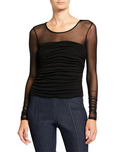 Zephyr Shirred-Bodice Long-Sleeve Sheer Top