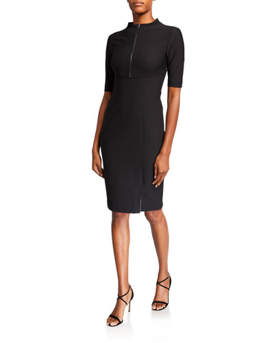 Zip-Front Elbow-Sleeve Compact Knit Sheath Dress