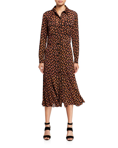 Andi Paisley-Print Long-Sleeve Shirt Dress