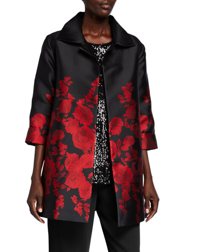 Red Carpet Rose-Jacquard Party Jacket