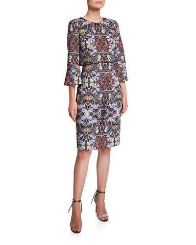 Printed Trumpet-Sleeve Day Dress
