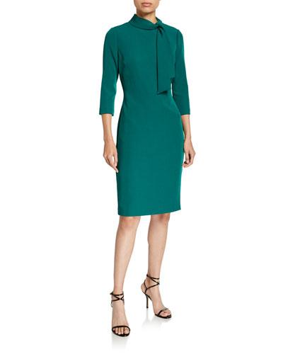 Tie-Neck 3/4-Sleeve Day Dress