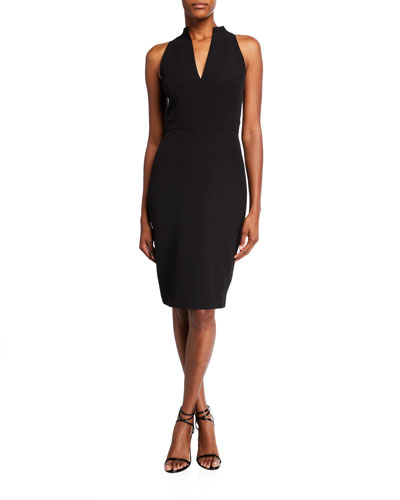 Halter Crepe Sheath Dress
