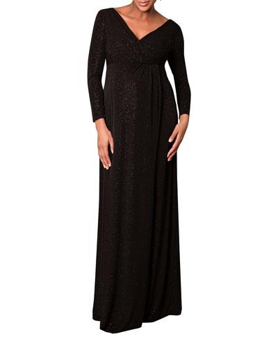 Maternity Isabella Glittery Long-Sleeve Surplice Dress