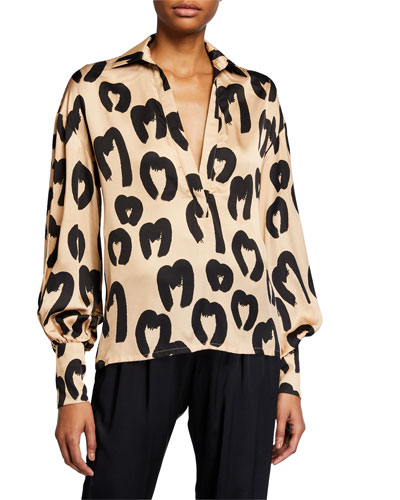Estelle Animal-Print Low-Neck Top