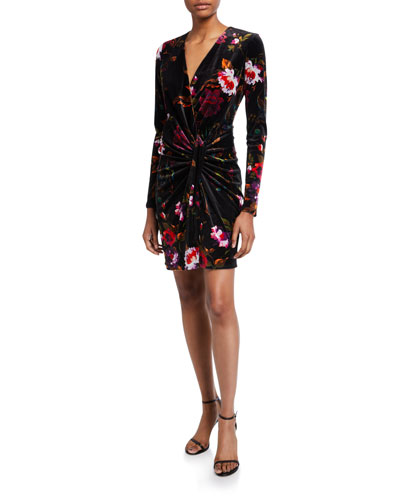 Abina Floral Long-Sleeve Velvet Dress