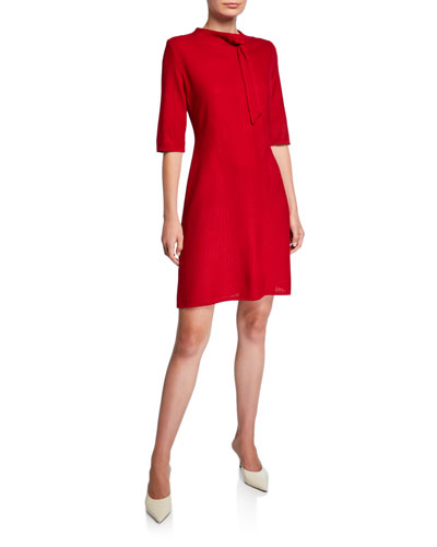 Tie-Neck Elbow-Sleeve Dress