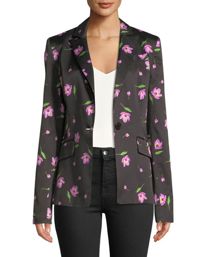 Long-Sleeve Single-Button Floral-Print Blazer