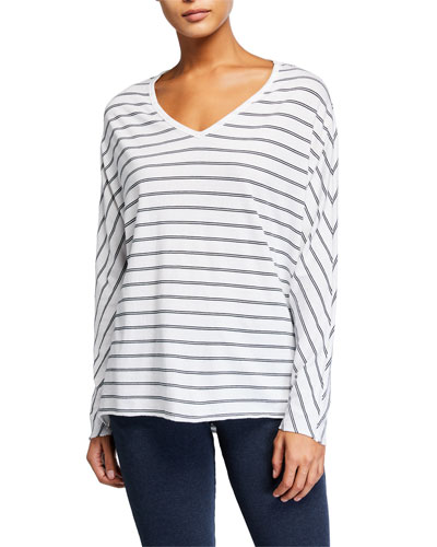 Striped Deep V-Neck Long-Sleeve Jersey T-Shirt