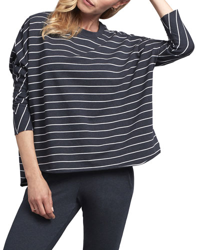 Striped Oversized Continuous Sleeve Sweatshirt