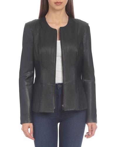 Lamb Leather Peplum Jacket