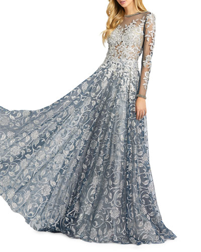 Leaf Pattern Long-Sleeve A-Line Illusion Gown