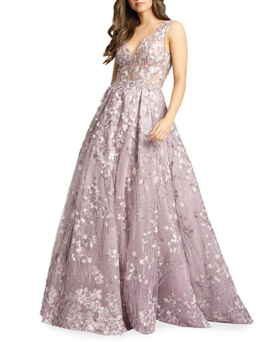 Floral Embroidered V-Neck Sleeveless A-Line Gown