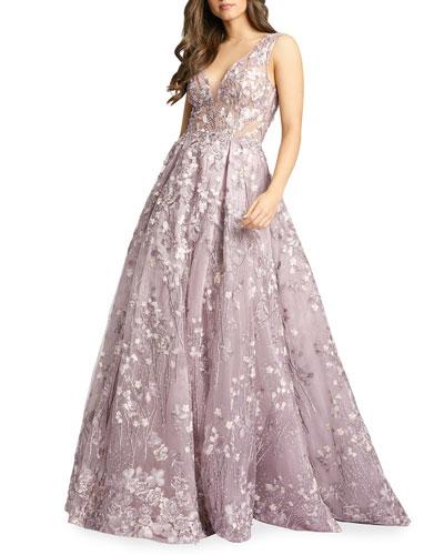 Floor Length Floral Gown Neiman Marcus