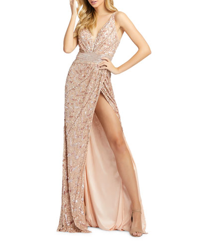 Sequin V-Neck Sleeveless Gown with Thigh Slit