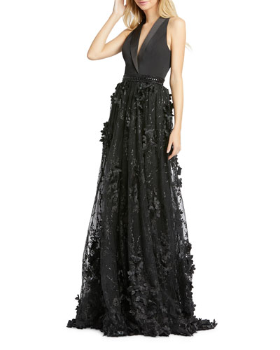 V-Neck Sleeveless Tuxedo Gown with Floral Embroidery