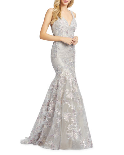 V-Neck Sleeveless Embroidered Trumpet Gown with Sequins