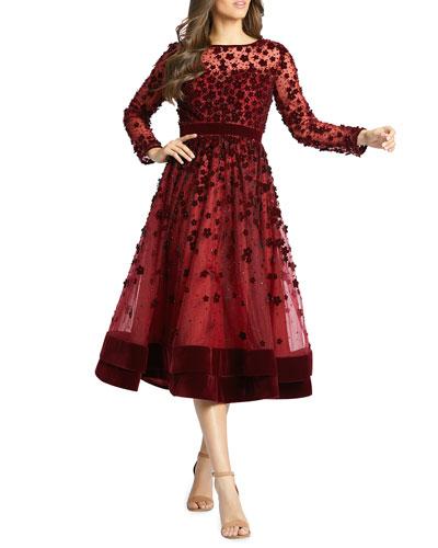 Long-Sleeve Tea-Length Floral Applique Cocktail Dress