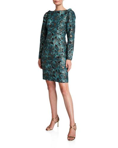 Floral Jacquard High-Neck Ruffle-Shoulder Long-Sleeve Dress