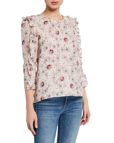 Claudine Printed Ruffle Top