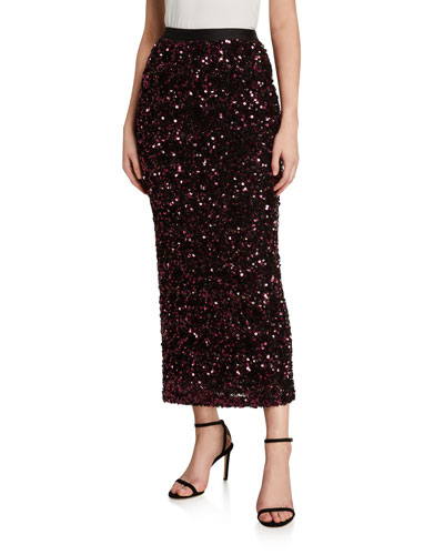Stretch Sequined Midi Skirt