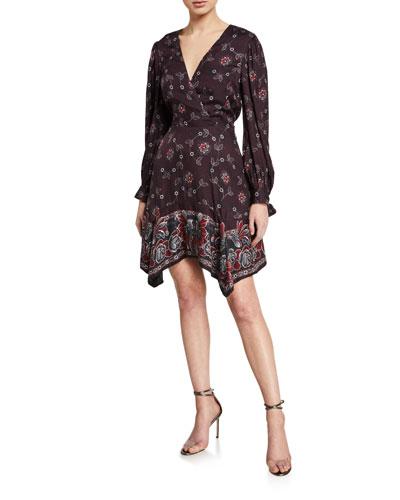 Printed V-Neck Handkerchief Dress