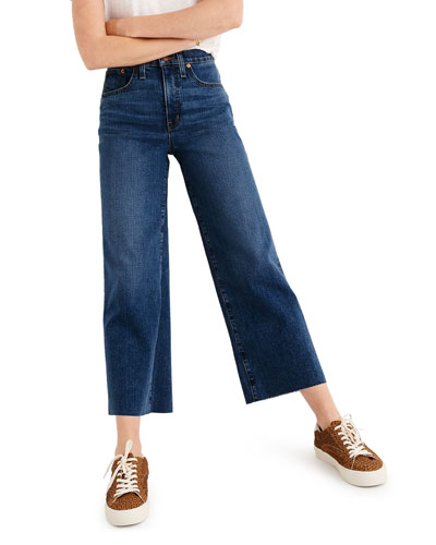 Wide-Leg Cropped Jeans with Raw Hem - Inclusive Sizing