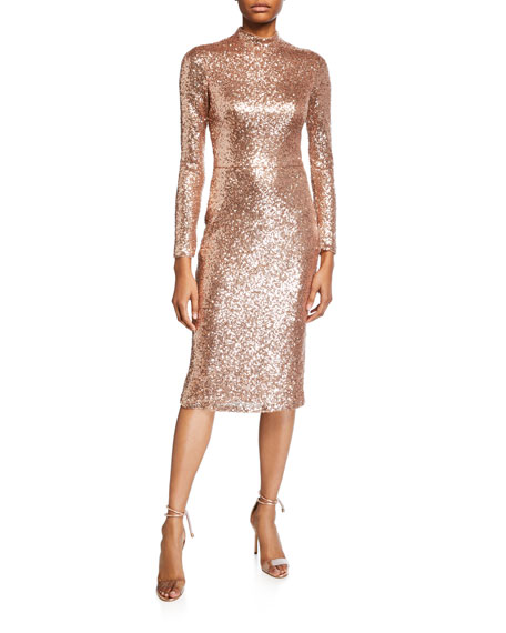 Love, Theia Sequin Mock-Neck Long-Sleeve Sheath Dress