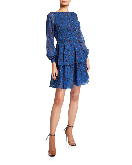 Love, Theia Floral Blouson-Sleeve Tiered Chiffon Dress with Cutout Back