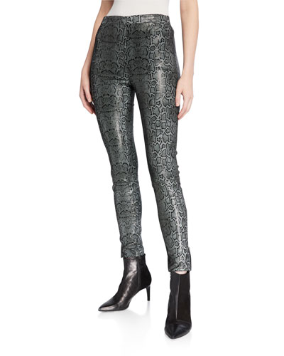 Darcy Pull-On Zip Leather Skinny Pants