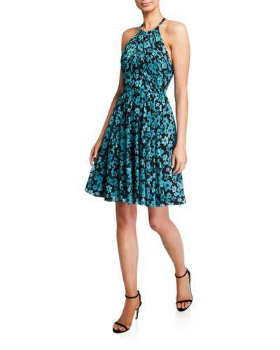 Floral Ruched Open-Back Halter Dress