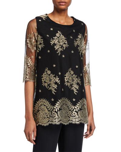 Luxury Lace 3/4-Sleeve Tunic