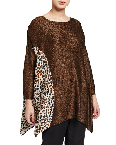 Plus Size Half Moon Leopard Crinkle Tunic