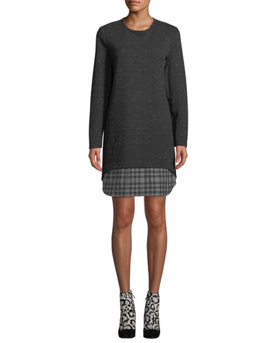 Plus Size Madison Long-Sleeve Checkered-Layer Dress