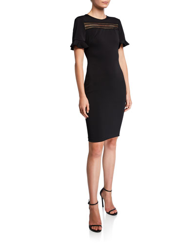 Livsia Short-Sleeve Lace Panel Pencil Dress