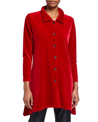 Button-Front Long-Sleeve Stretch-Velvet Side-Fall Shirt