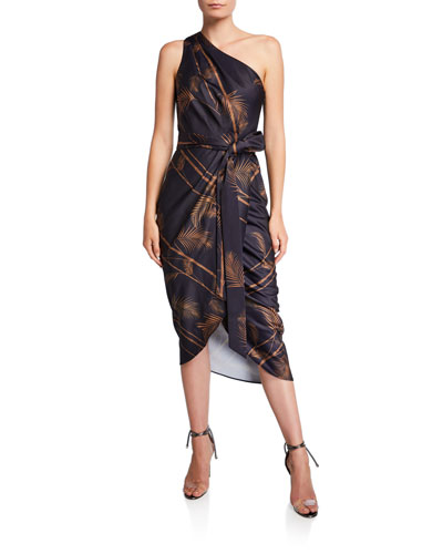 Gabia Printed One-Shoulder Midi Wrap Dress