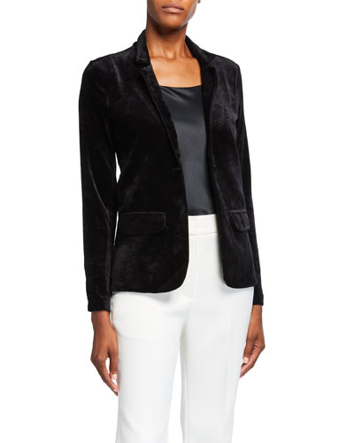 Velour One-Button Long-Sleeve Blazer