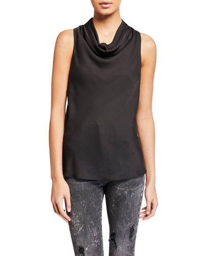 Sleeveless Cowl-Neck Silk Top