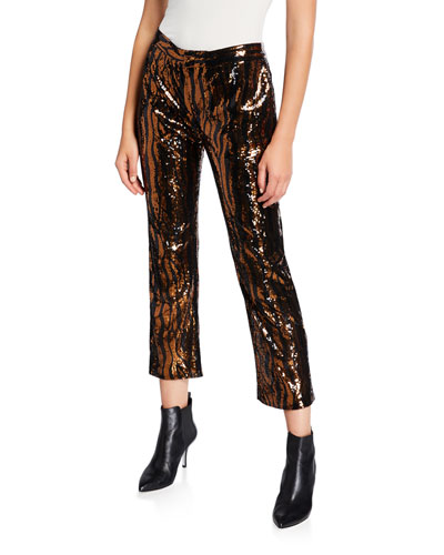 Sequined Animal-Print Chino Pants